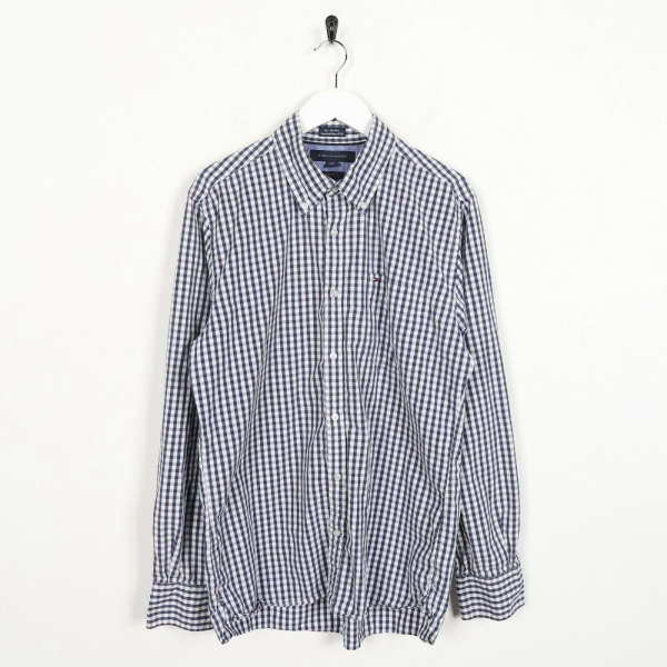 Vintage TOMMY HILFIGER Small Logo Long Sleeve Check Shirt White Black Medium M