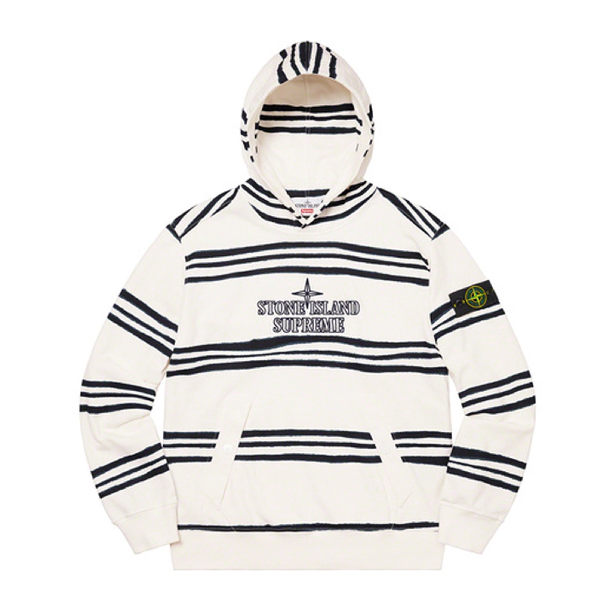 Supreme Stone Island Warp Stripe Hooded Sweatshirt White