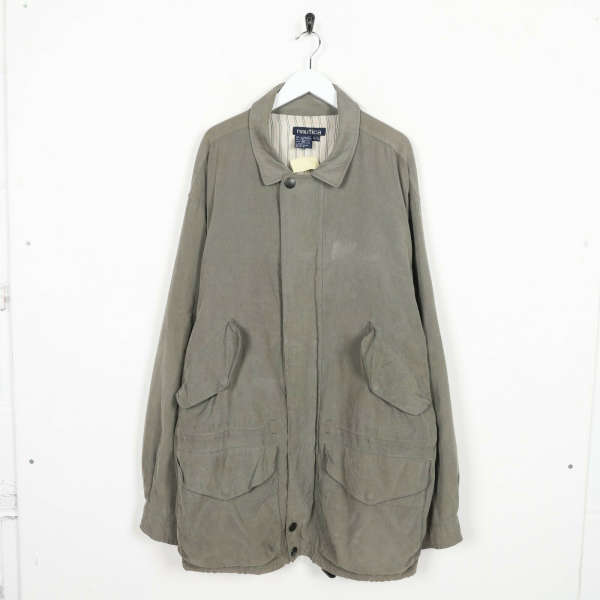 Vintage NAUTICA Long Trench Coat Jacket Green XL