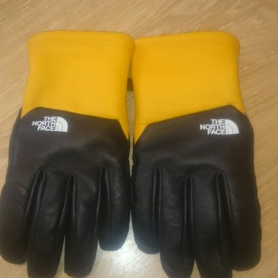 Supreme X The North Face Yellow Leather Gloves