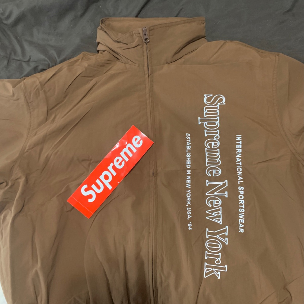 Supreme Side Logo Track Jacket Brown
