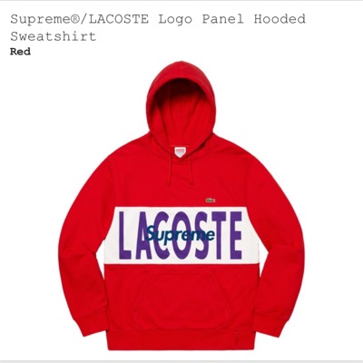 Supreme X Lacoste Logo Panel Hoodie- Size M (Red)