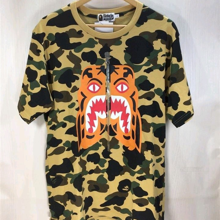 Bape T-Shirts Cotton Camouflauge Pattern Zip Up Beige