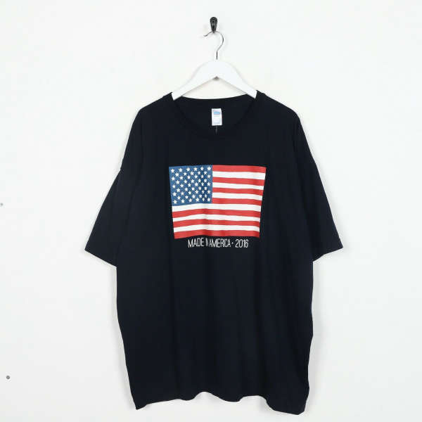 Vintage USA Big Graphic Flag Print T Shirt Tee Black | 2XL