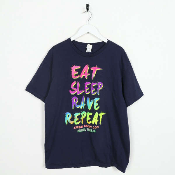 Vintage USA PRINT Spring Break Big Graphic Slogan T Shirt Tee Navy Blue | XL