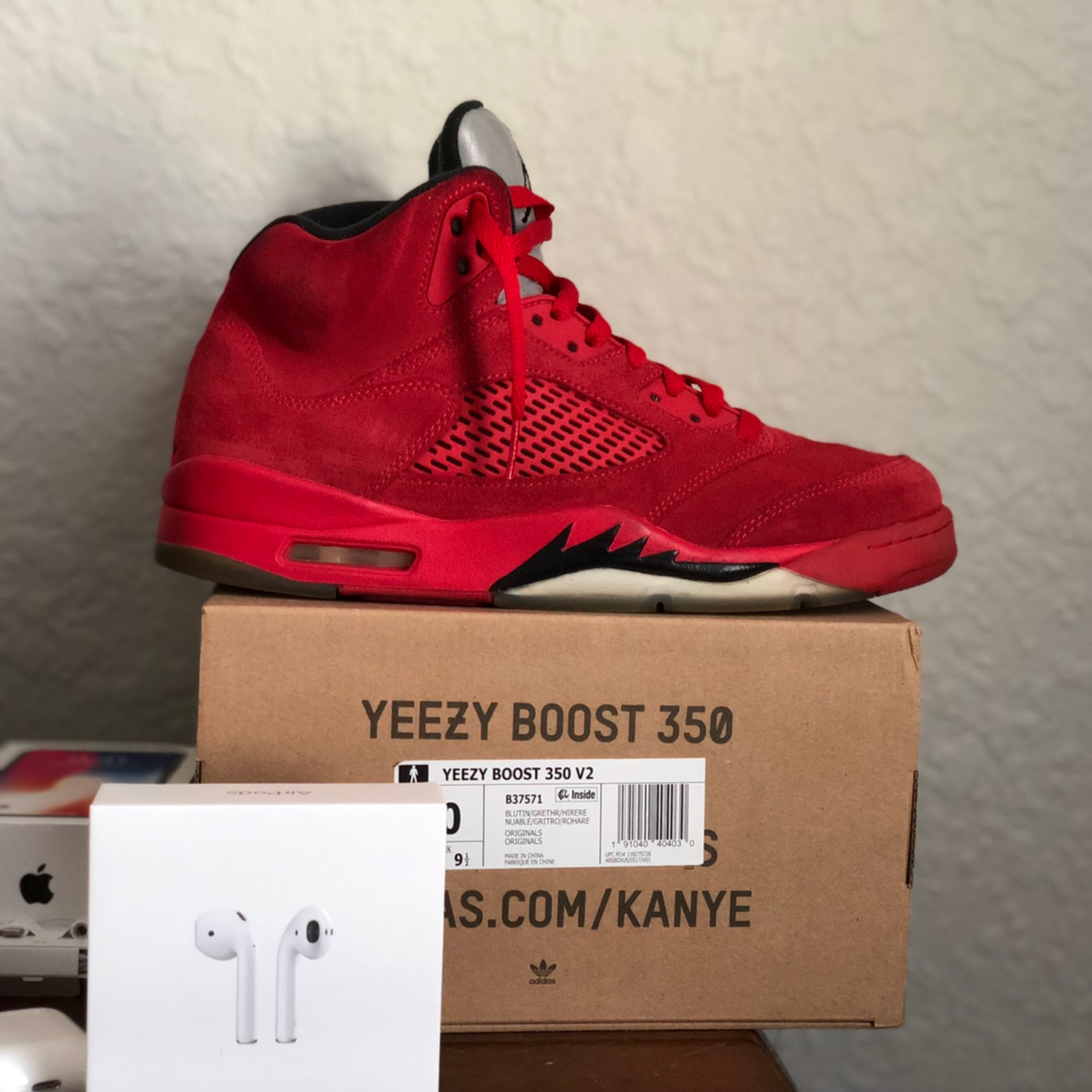 online store e3629 8d934 Jordan 5 Red Suede Size 9.5 Used No Box