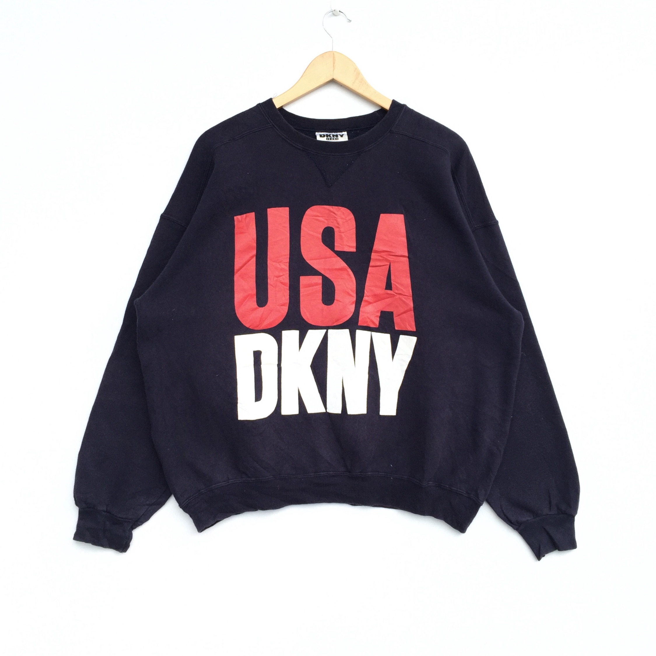 Vintage Dkny Usa Spell Out Printed Logo Sweatshirt