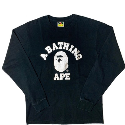Black Bape Long Sleeve T Shirt - College Logo