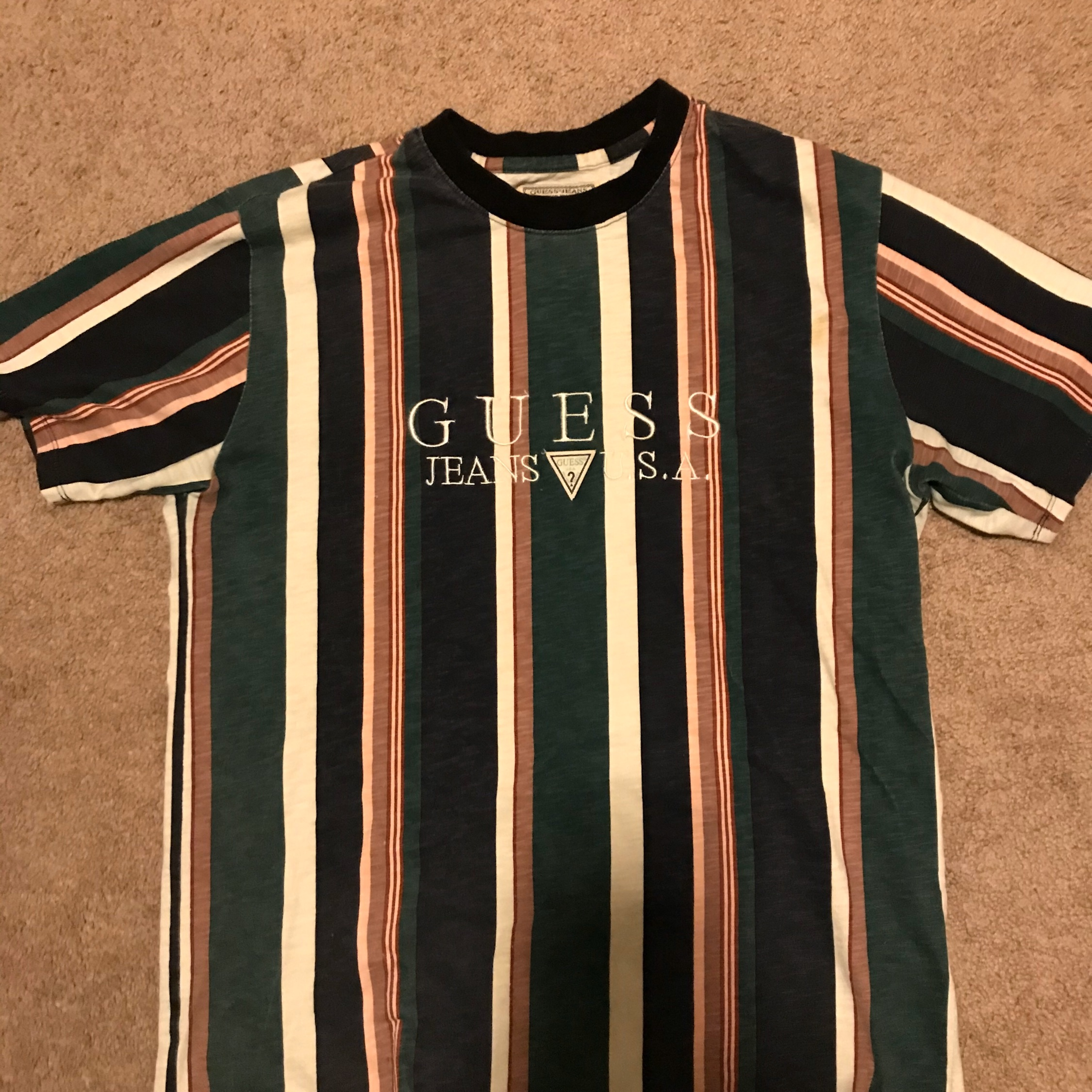 Guess Vintage Style Stripe Tee Small