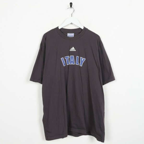 Vintage 2002 ADIDAS Italy World Cup Spell Out T Shirt Tee Grey XL