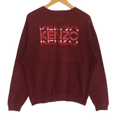 Kenzo Sweatshirt Big Logo Spell Out Embroidery Red