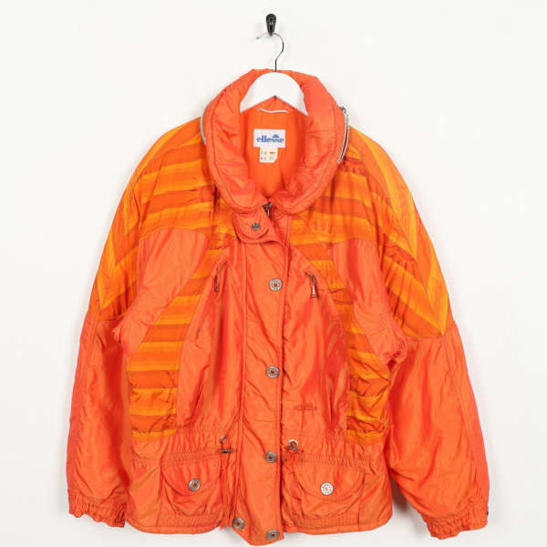 Vintage Women's 90s ELLESSE Small Logo Padded Puffer Ski Coat Orange | Medium M