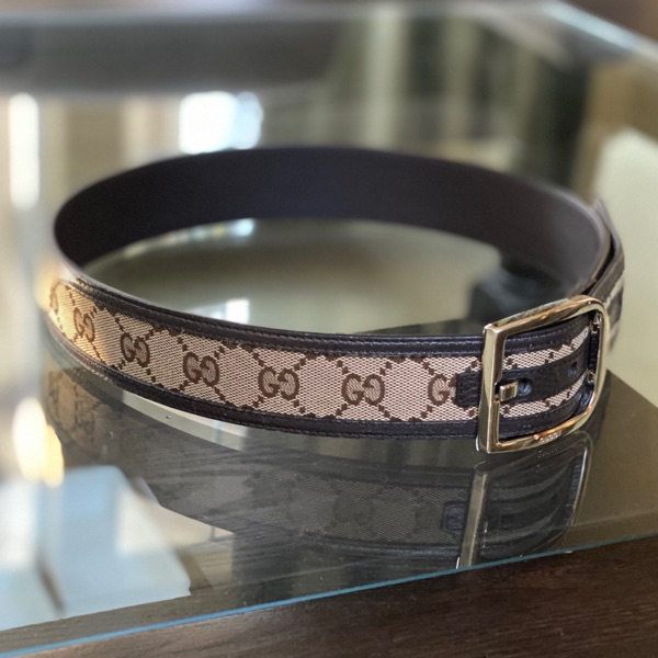 Gucci Belt Brown Leather Canvas Gg Size 80/32
