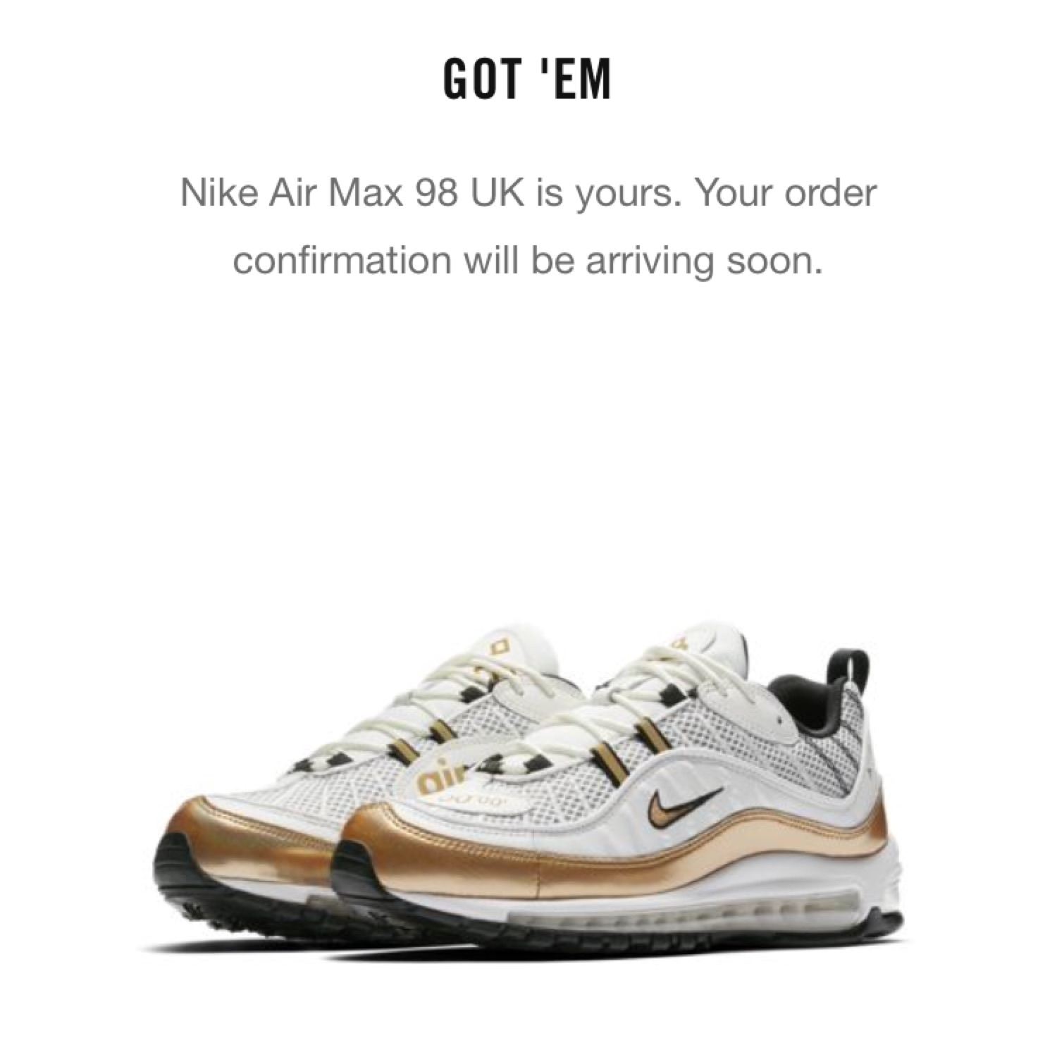 91838f2321 nike air max 98 white gold uk 1; air max 98 uk edition
