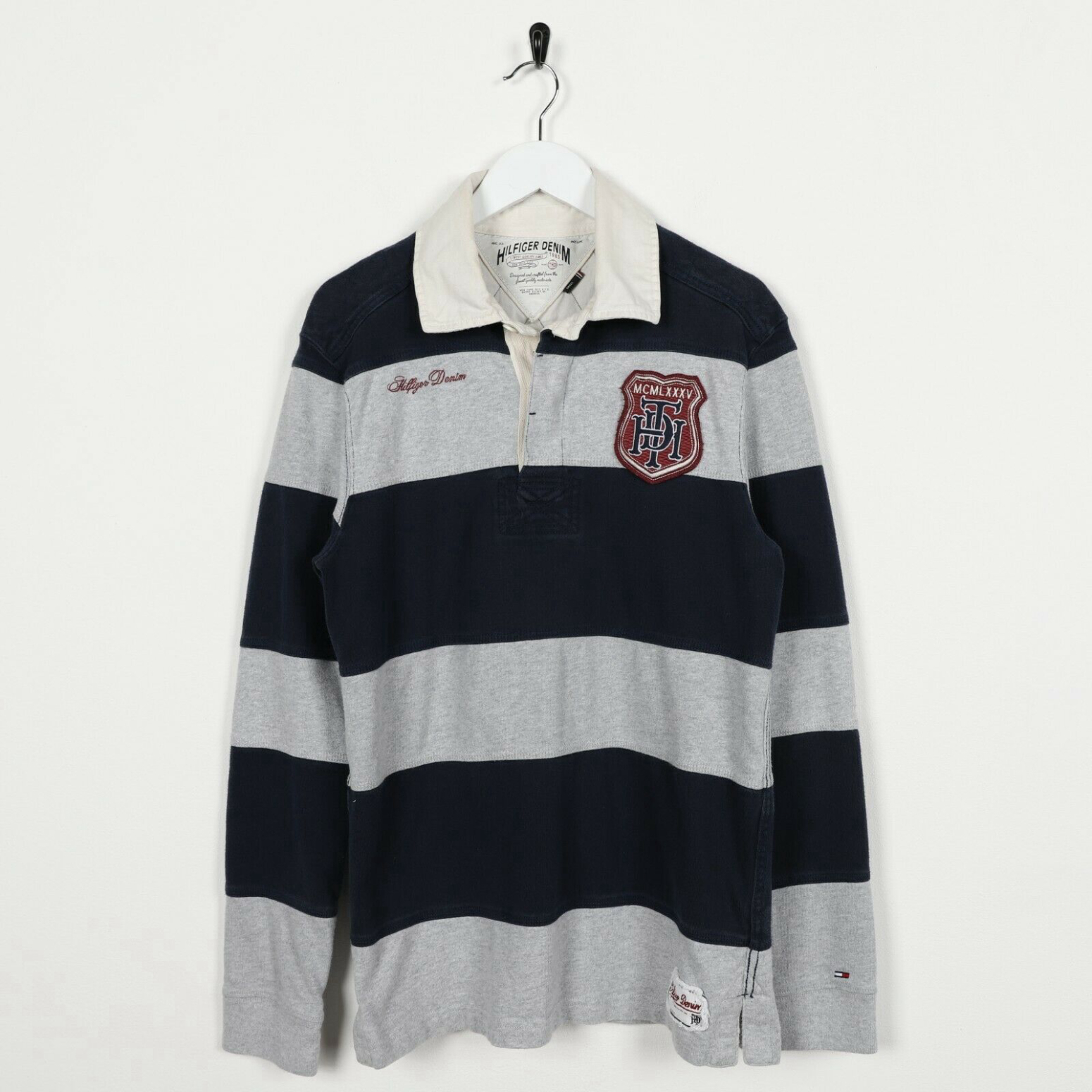 Vintage TOMMY HILFIGER Rugby Long Sleeve Polo Shirt Tee Blue Grey | Small S