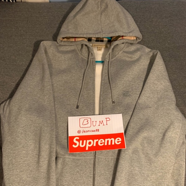 Burberry Zip Up Hoodie Grey