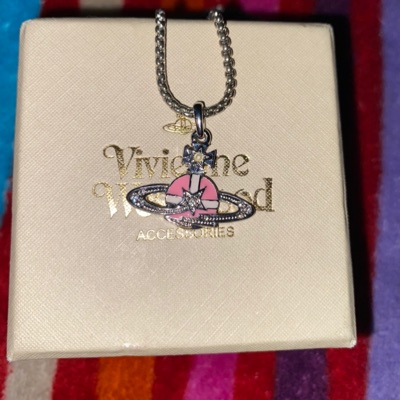 Pink Vivienne Westwood Star Orb Chain Necklace