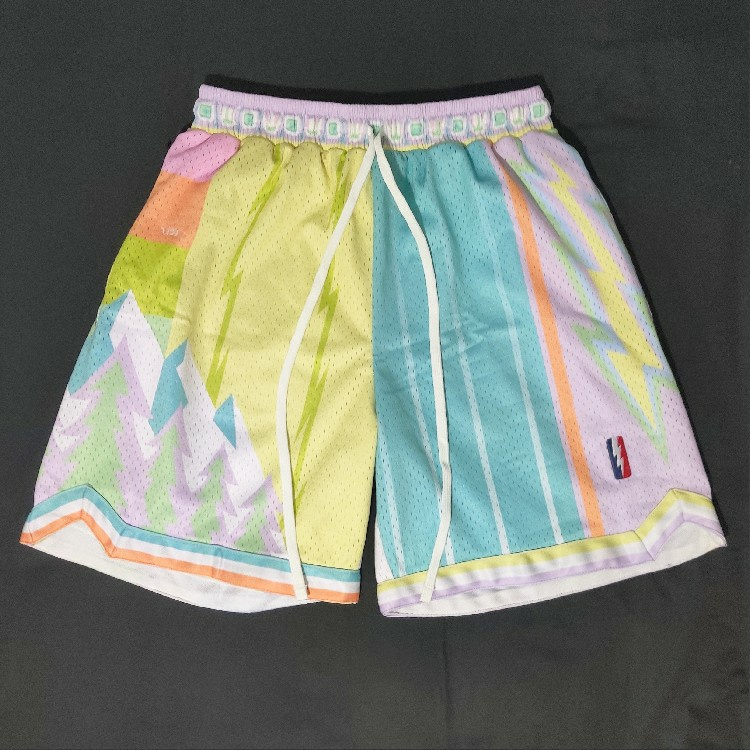 """Trillest x Who Cares """"What The NBA"""" Pastel Swingman Basketball Shorts Size L"""