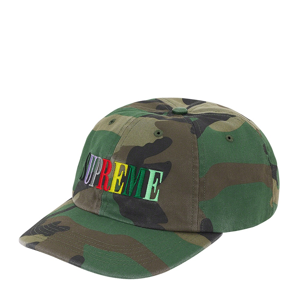 Supreme Multi Color Logo 6-Panel Woodland Camo