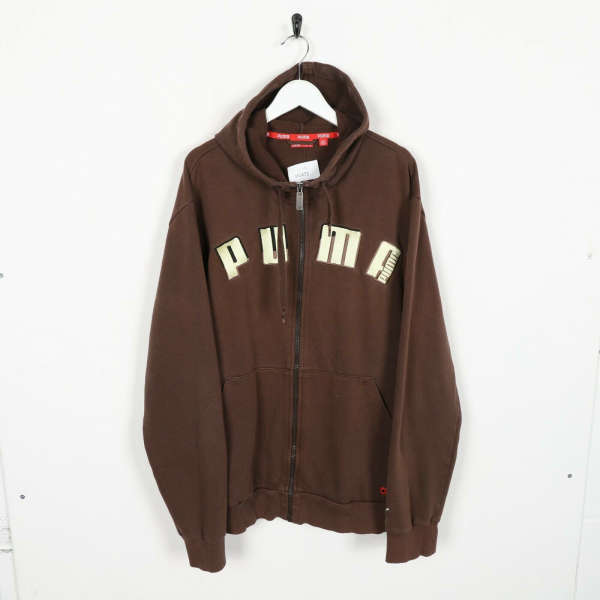Vintage PUMA Big Logo Zip Up Hoodie Sweatshirt Brown | XL