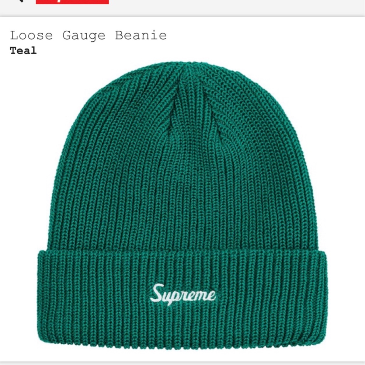 Supreme loose Gauge Beanie - Teal
