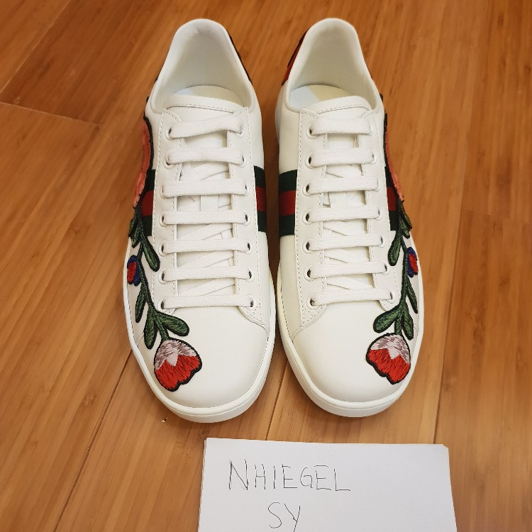 Gucci Ace Embroidered Floral Size 38