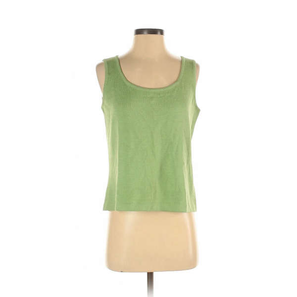 St. John Women Green Sleeveless Top S