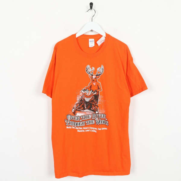 Vintage Over The River Through The Woods Novelty Graphic T Shirt Orange | XL