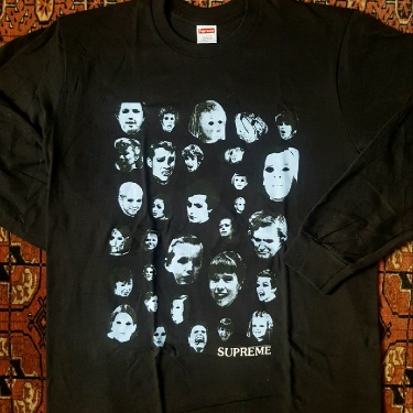 New FW19 Supreme Faces Long Sleeve Black Shirt Size L