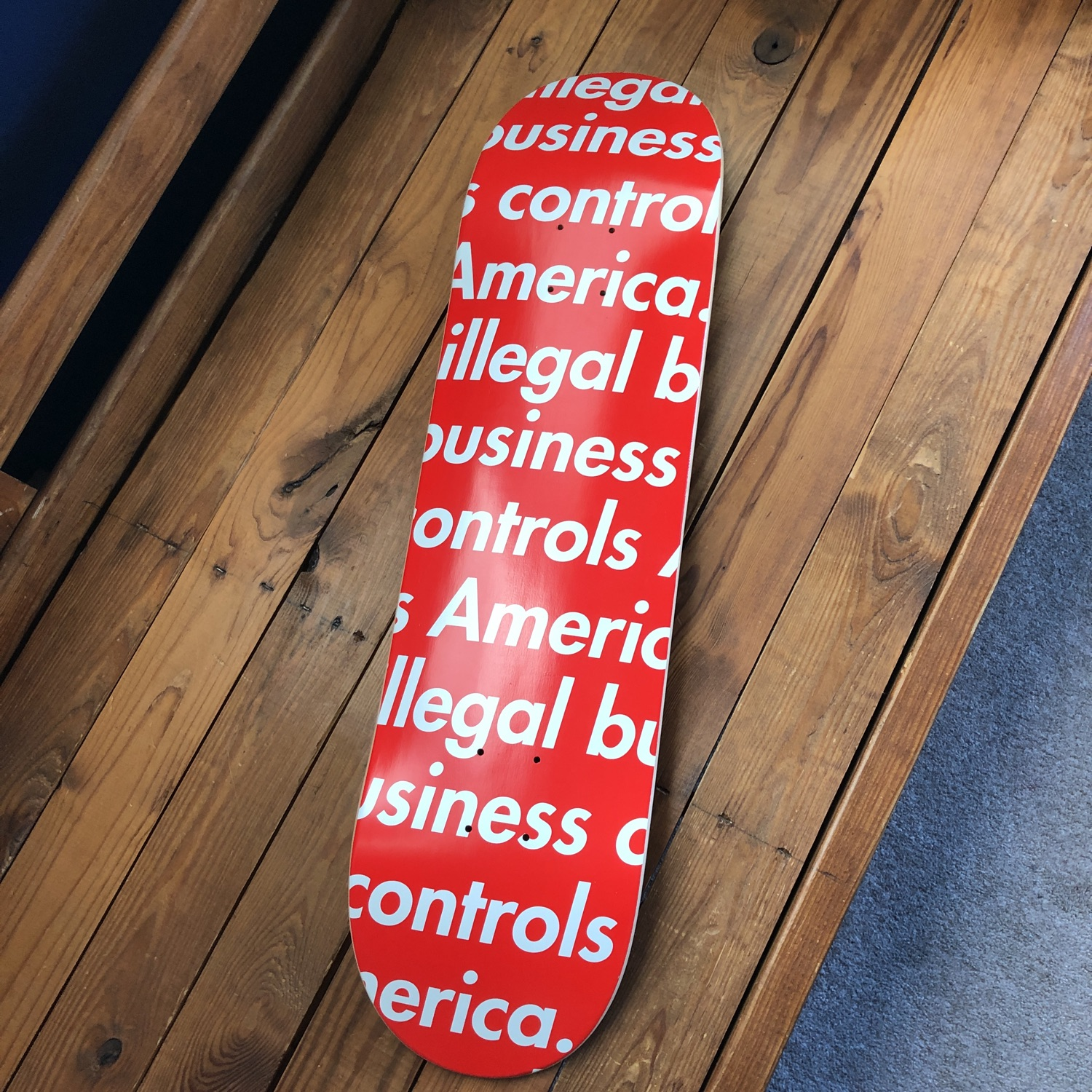 New Supreme Red Illegal Business Skate Deck