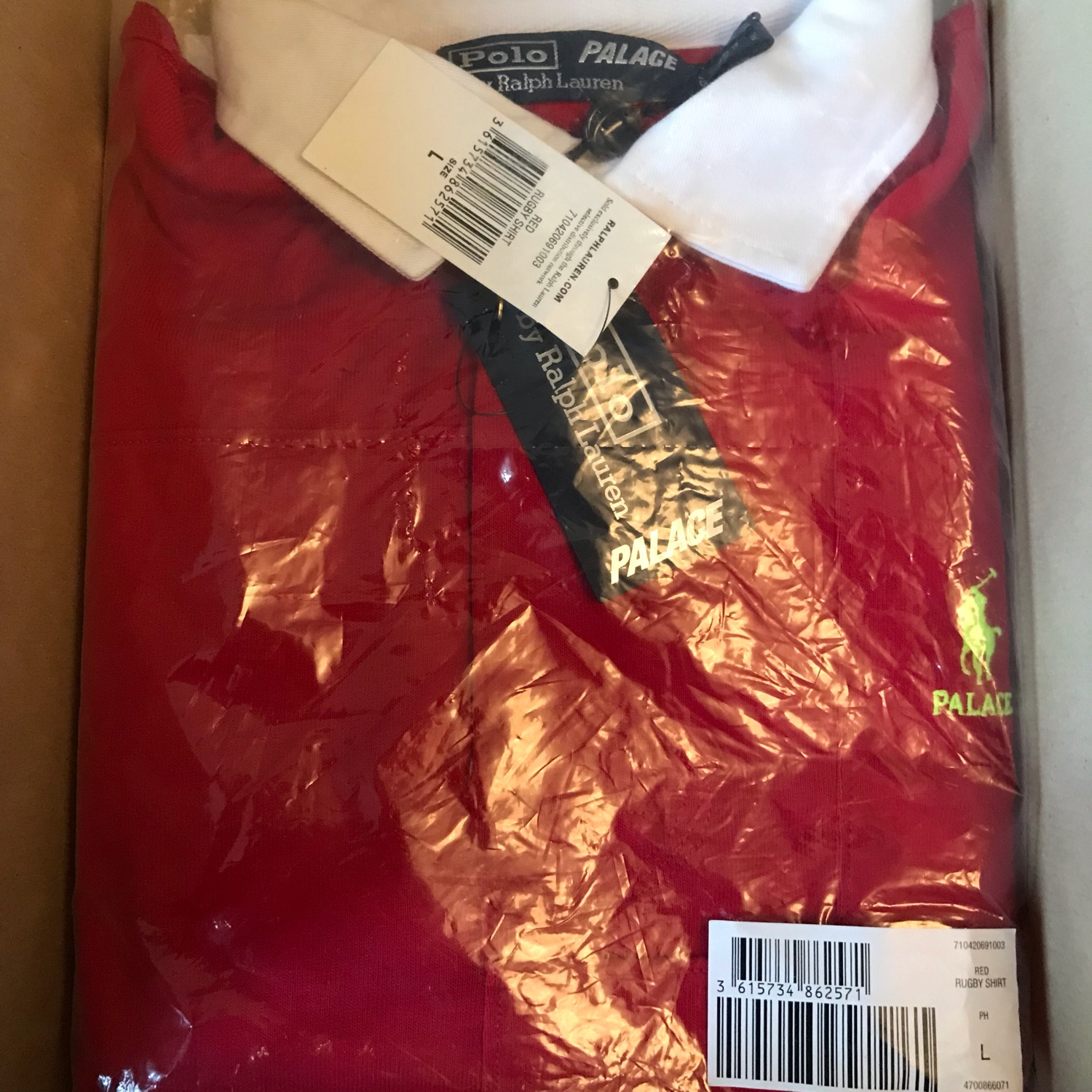 Palace X Polo Ralph Lauren Rugby Shirt Red Large