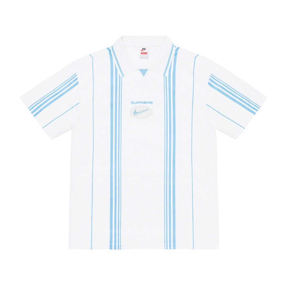 Supreme/Nike Jewel Stripe Soccer Jersey White/Blue