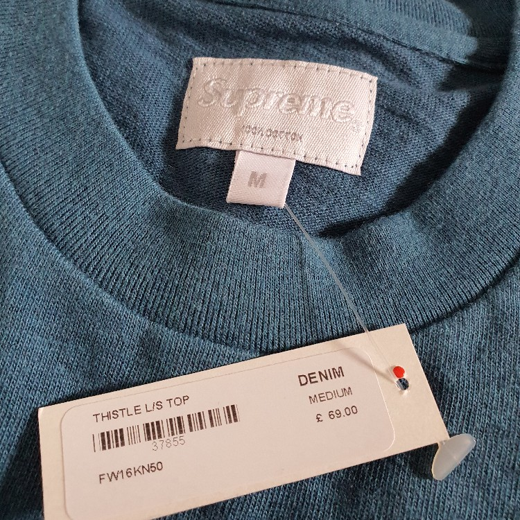 Rare New witg tag FW16 Supreme Thistle L/S top size M medium longsleeve