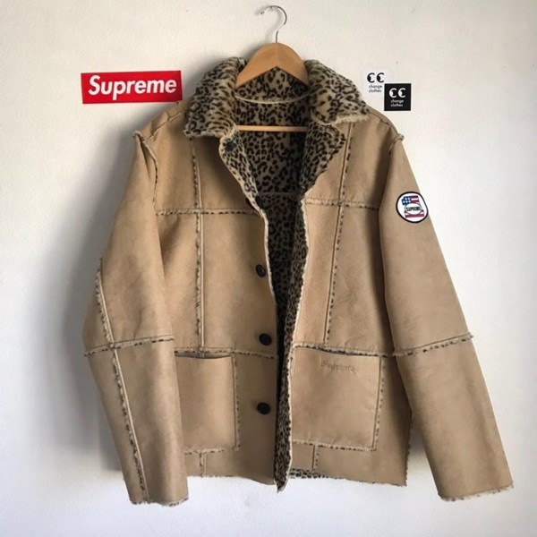 Supreme Reversible Faux Suede Leopard Coat