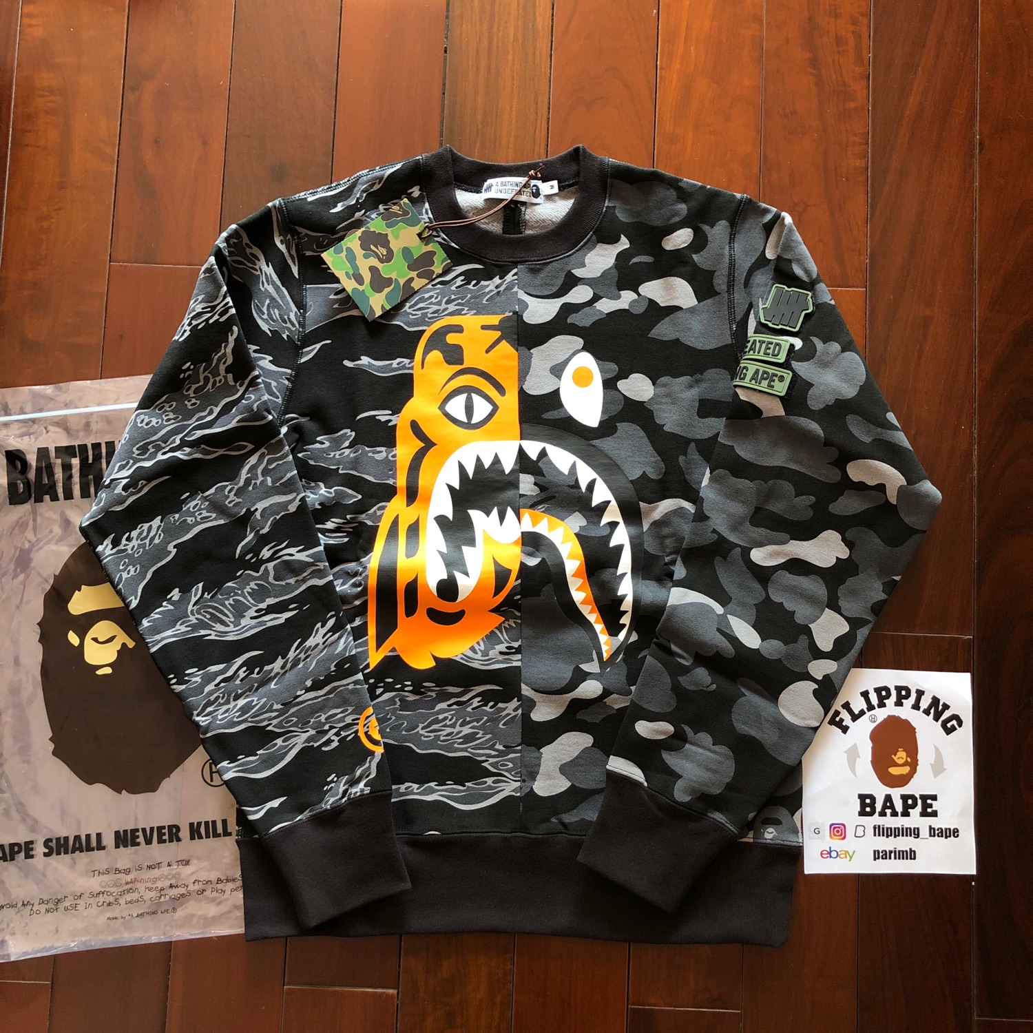 b5f3aead Bape X Undefeated Tiger Shark Crewneck