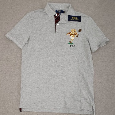NWT POLO RALPH LAUREN POLO BEAR RUGBY POLO - CLASSIC FIT SMALL - GRAY