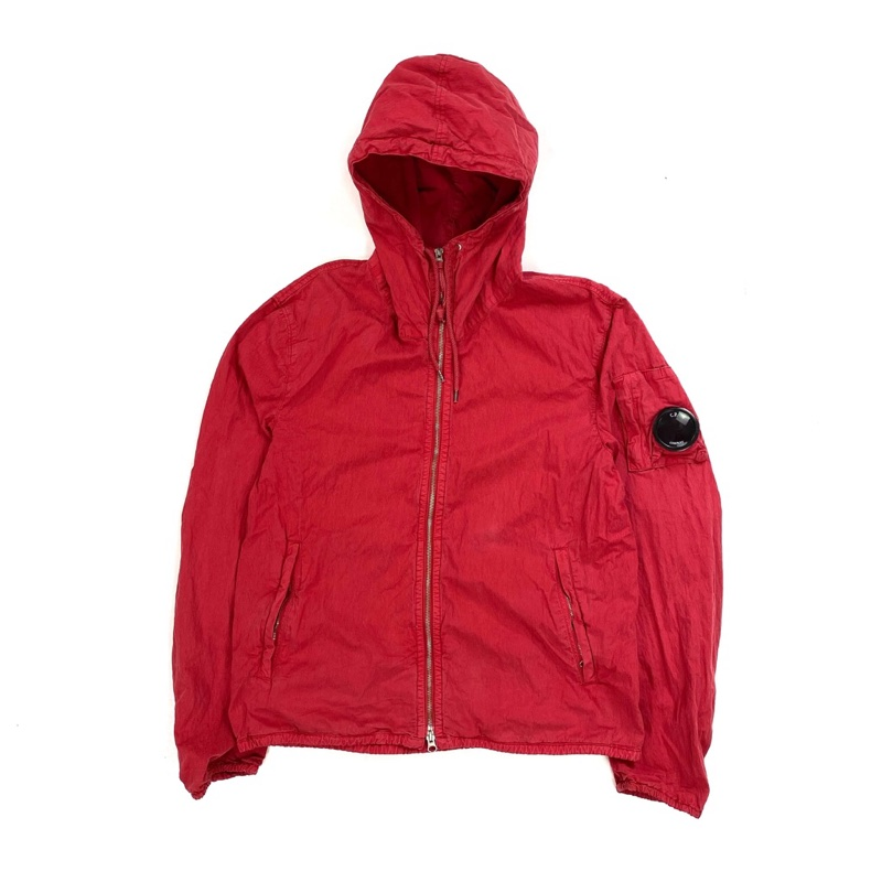 CP COMPANY LIGHT RED COTTON BLEND HOODED JACKET