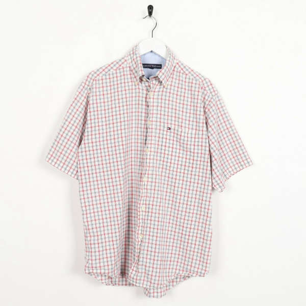 Vintage TOMMY HILFIGER Check Small Logo Short Sleeve Shirt Red White | Small S