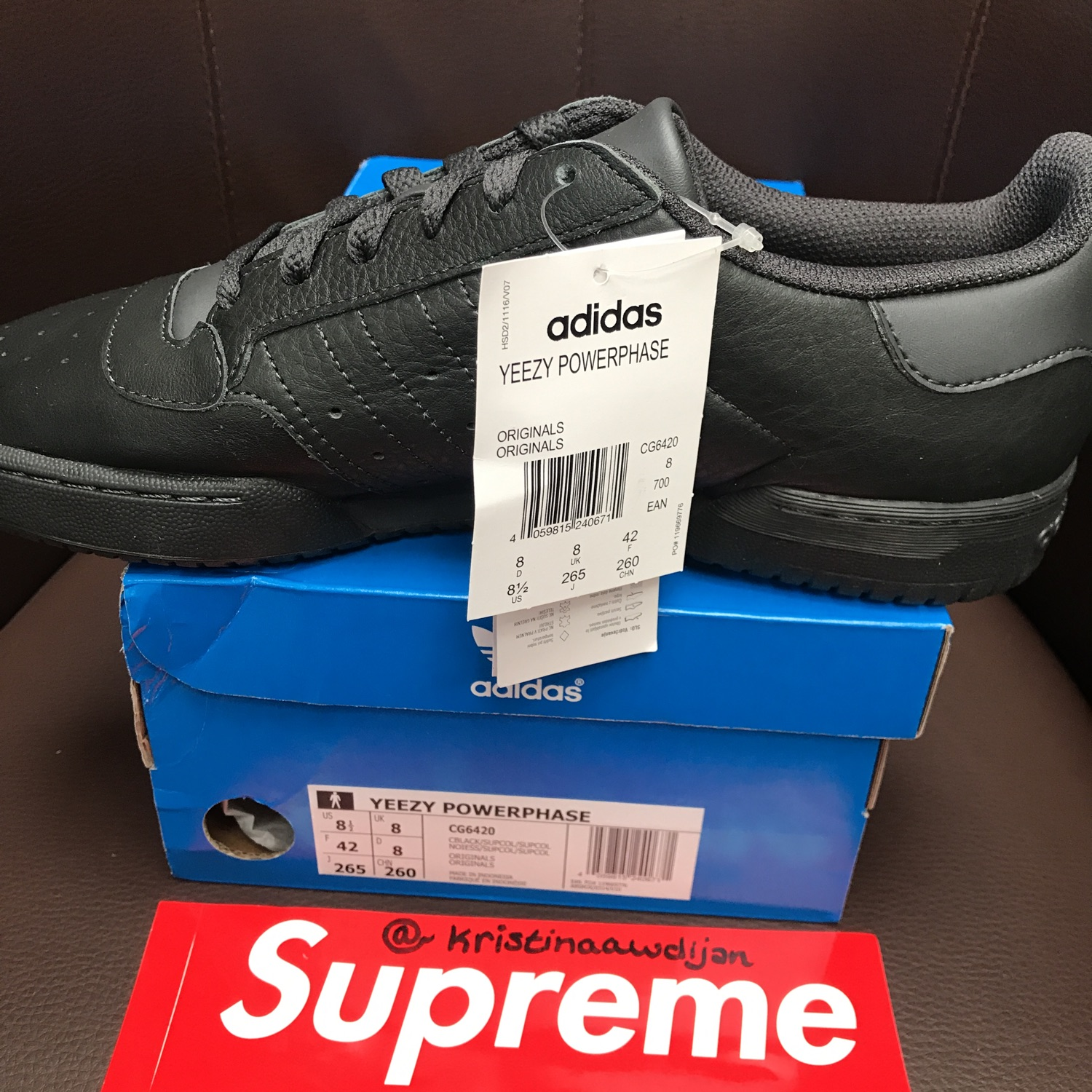 sneakers for cheap 6e511 1ee30 Adidas Yeezy Powerphase Eu 42 Us 8.5 Uk 8