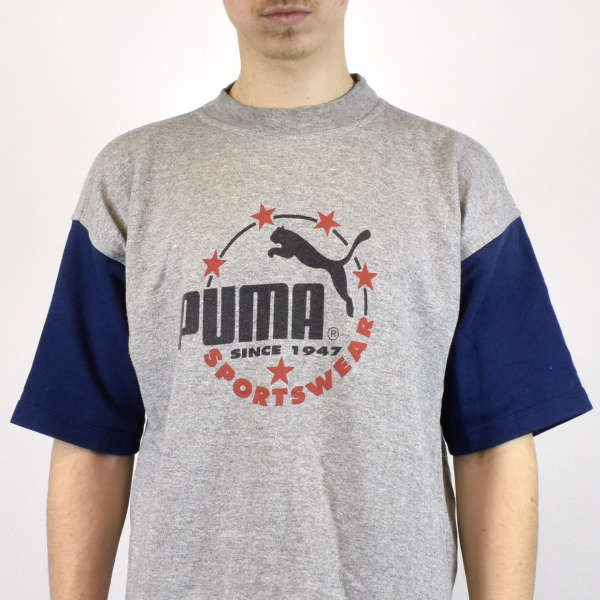 Vintage Puma t-shirt top blouse tee in gray and navy blue