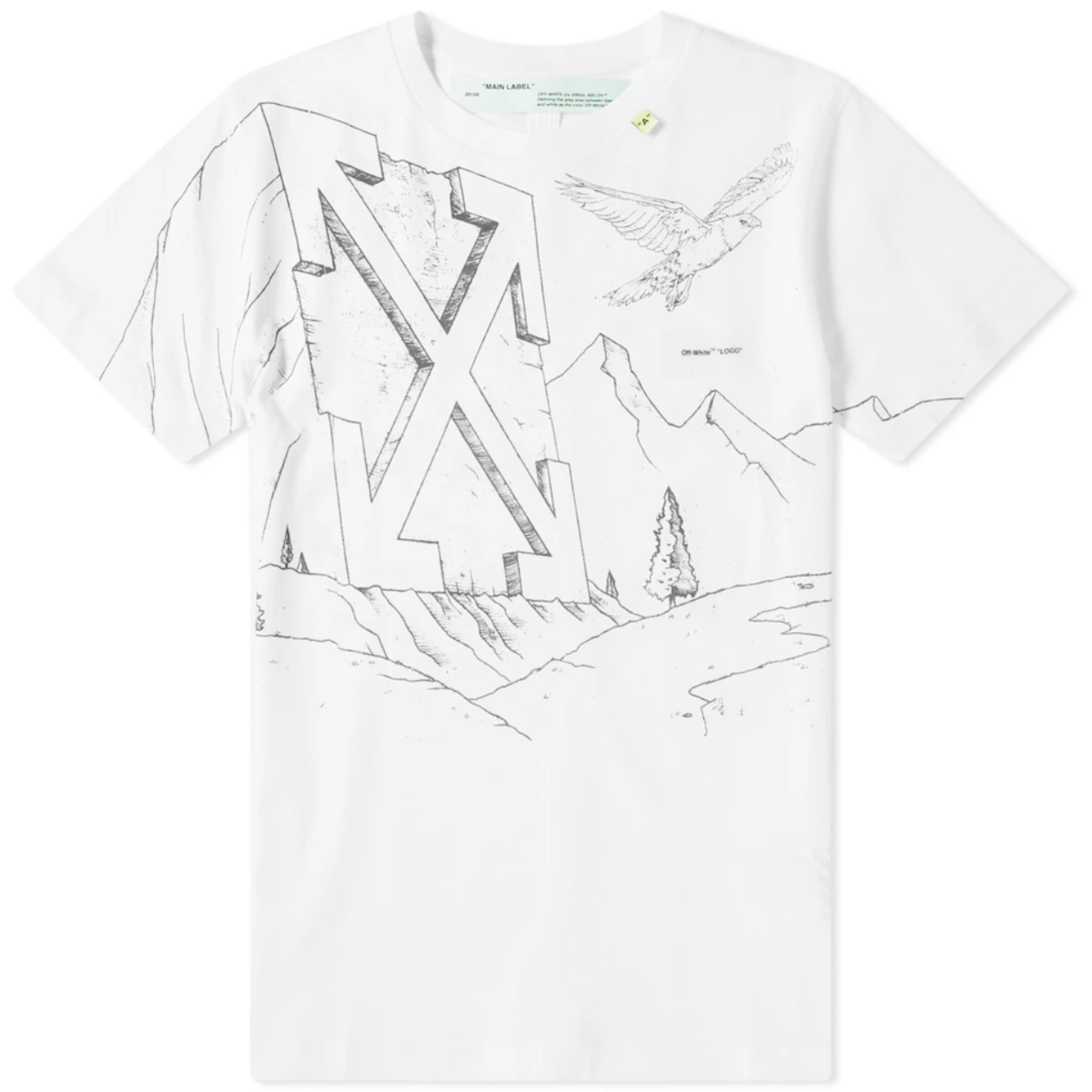 54936b75 Off-White Pencil Eagle Diagonals Skinny Tee