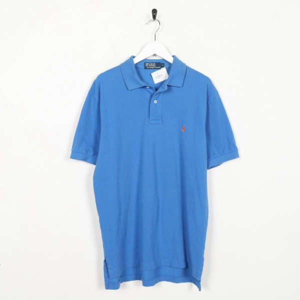 Vintage RALPH LAUREN Small Logo Polo Shirt Top Blue | Medium M