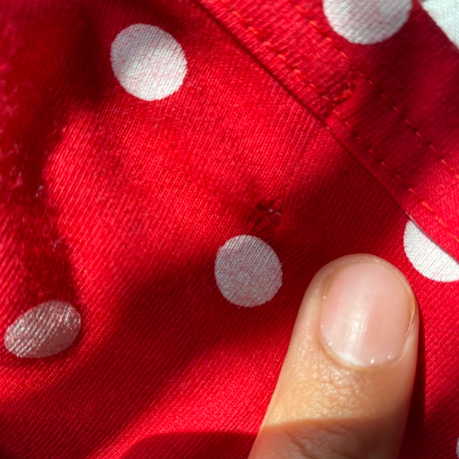 Commes Des Garcon Polka Dot Long Sleeve Tee Red.