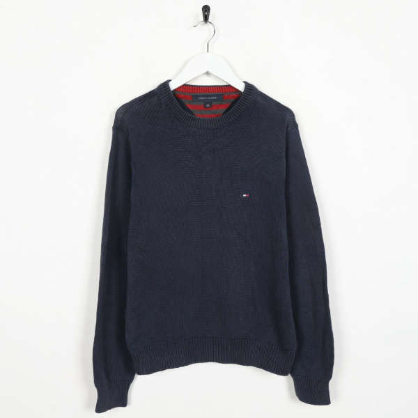 Vintage TOMMY HILFIGER Small Logo Knitted Sweatshirt Jumper Blue | Small S