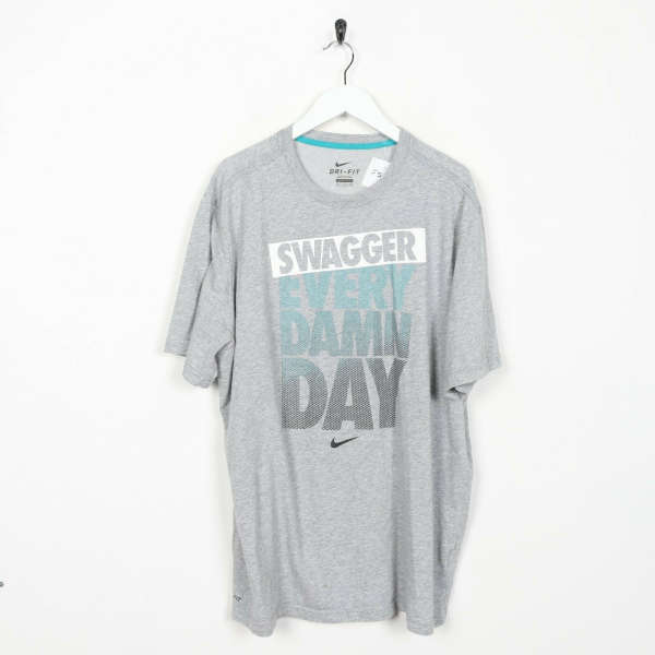Vintage NIKE Dri-Fit Swagger Every Damn Day Big Logo T Shirt Tee Grey | 2XL