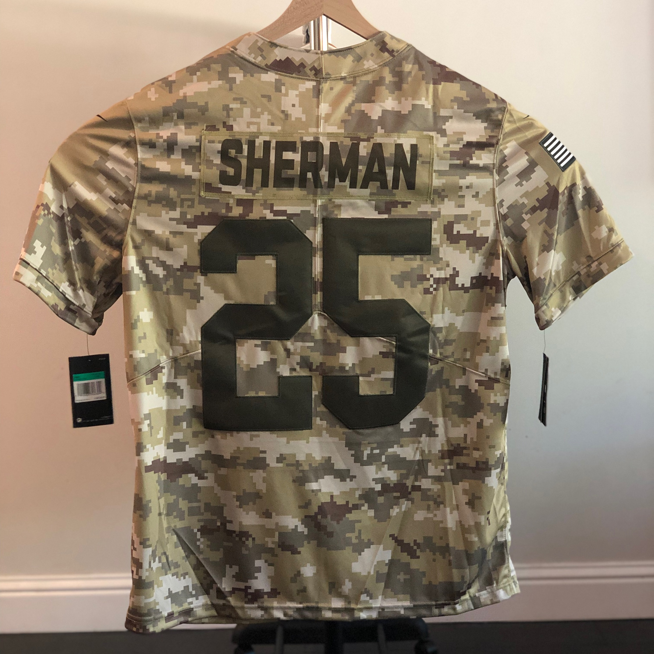 the latest d2459 bb849 Nike Salute To Service Sf 49Ers Sherman Jersey