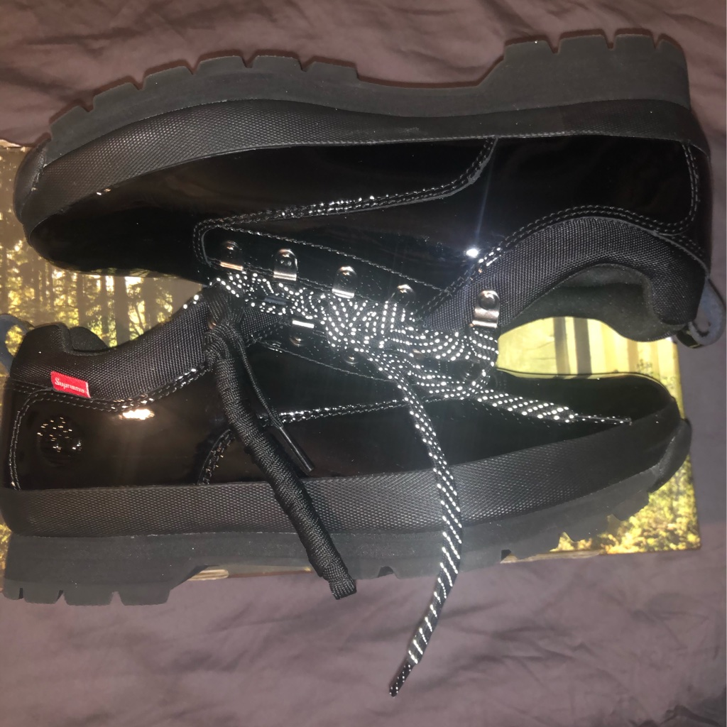 Supreme Timberland Patent Leather Euro Hiker Low Black