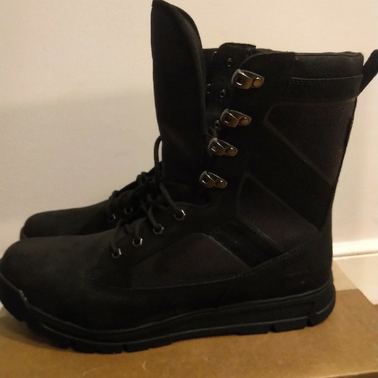 "Timberland 8"" Tall Black Leather Field Guide Boot A1HR1, Cordura"