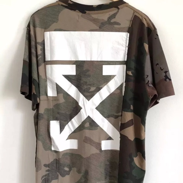 Off White Panelled Camouflage T Shirt New Xl