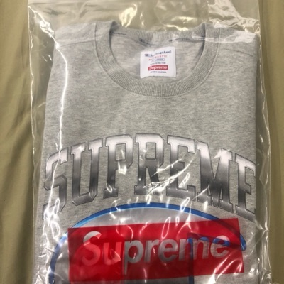 Supreme Champion Crewneck, Grey, Size Xl